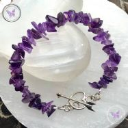 Amethyst Chip Bracelet with Silver Heart Toggle Clasp